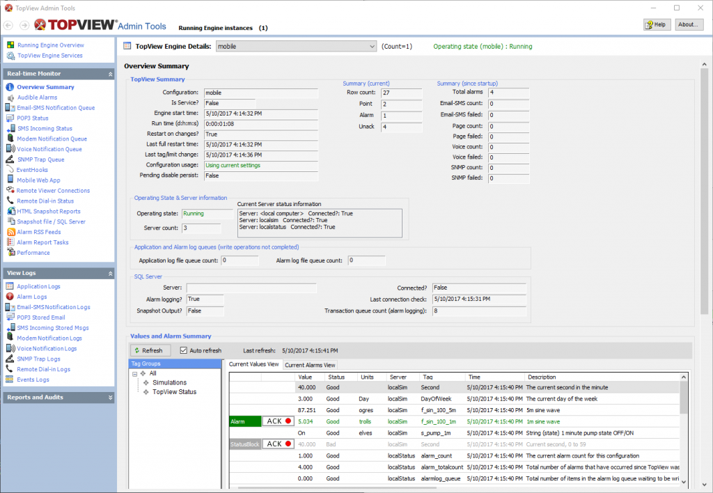 TopView Admin Tools application overview screen