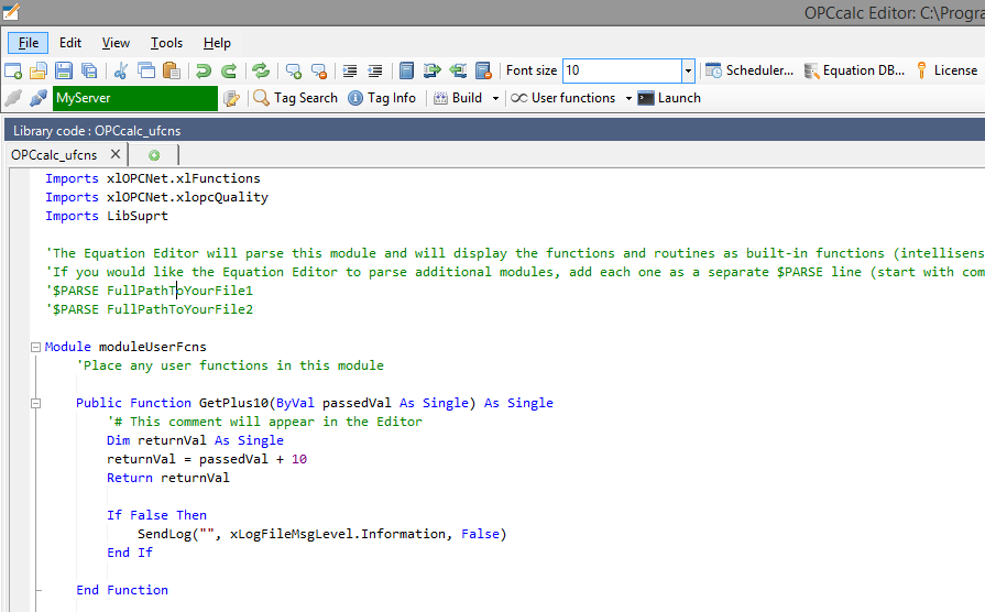 User functions in the Editor